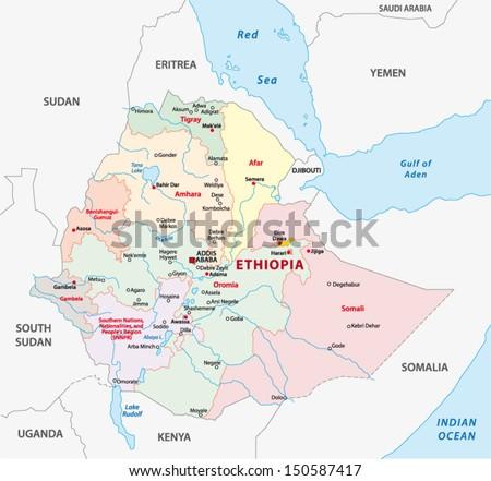 ethiopia administrative map - stock vector