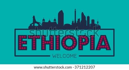Ethiopia city skyline typographic illustration vector design - stock vector