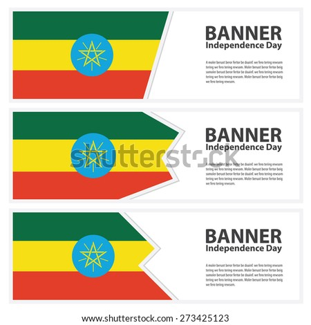 ethiopia Flag banners collection independence day - stock vector