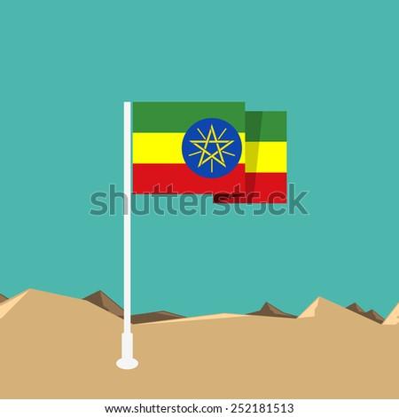 Ethiopia flag in flat design - stock vector