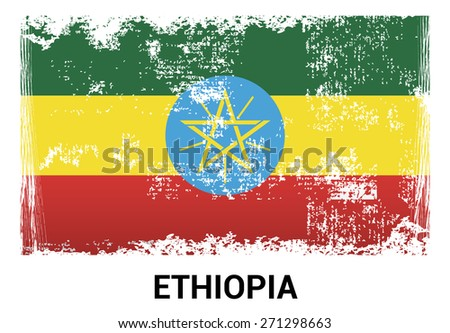 Ethiopia grunge flag isolated vector in official colors and Proportion Correctly. country's name label in bottom - stock vector