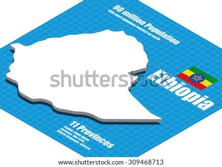 Ethiopia map vector three dimensional - stock vector