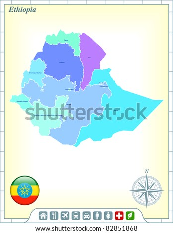 Ethiopia Map with Flag Buttons and Assistance & Activates Icons Original Illustration - stock vector