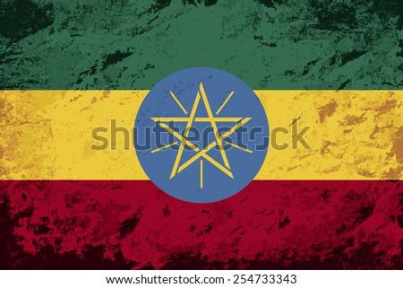 Ethiopian flag Grunge background. Vector illustration Eps 8. - stock vector