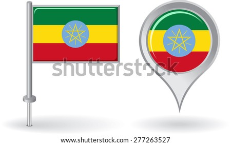 Ethiopian pin icon and map pointer flag. Vector illustration. - stock vector