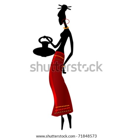 ethnic african girl on a white background - stock vector