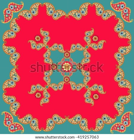 Ethnic bandana print. Bright silk neck scarf with paisley ornament. Summer kerchief square pattern design style for print on fabric. Vector illustration. - stock vector