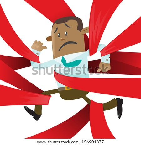Ethnic Business Buddy is caught up in Red Tape. Vector illustration of Ethnic Business Buddy clearly very distressed with the bureaucratic red tape that he's got caught up in.  - stock vector
