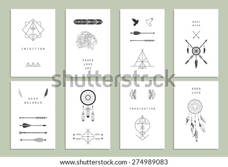 Ethnic cards. Arrows, Indian elements, Aztec borders and embellishments. - stock vector