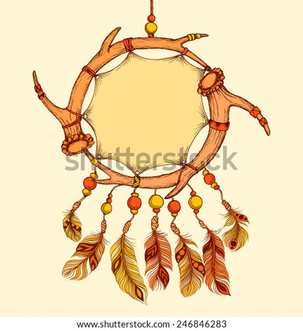 Ethnic dream catcher from two elks horns with feathers. American Indian style. Tribal card in sketch style. Vector illustration. - stock vector