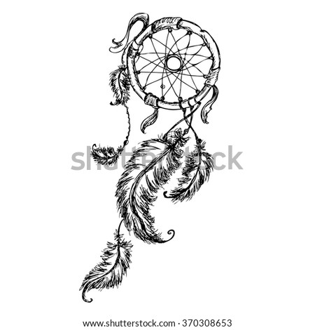 Ethnic dream catcher with feathers. American Indian style. Isolated on white background. Vector illustration - stock vector