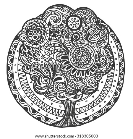 Ethnic floral retro doodle background pattern with tree in the middle, black and white, vector - stock vector