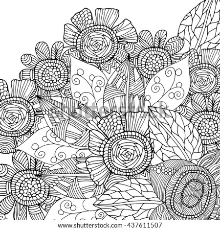 Ethnic floral zentangle, doodle background pattern in vector. Henna paisley doodles design tribal design element. - stock vector
