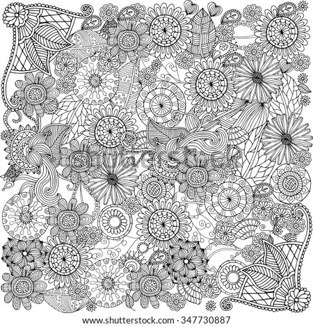 Ethnic floral zentangle, doodle background pattern in vector. Henna paisley mehndi doodles design tribal design element. - stock vector
