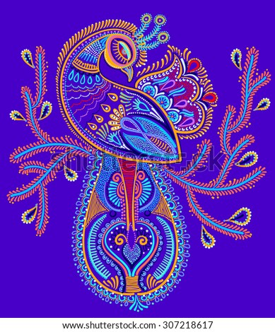ethnic folk art of peacock bird with flowering branch design, vector dot painting illustration - stock vector