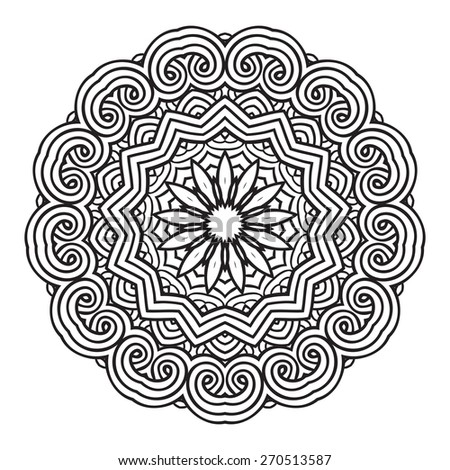 Ethnic Fractal Mandala. Vector Circle Meditation Tattoo  - stock vector