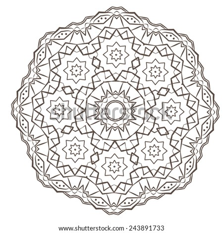Ethnic Fractal Mandala Vector Meditation Tattoo looks like Snowflake or Maya Aztec Pattern or Flower too Isolated on White - stock vector
