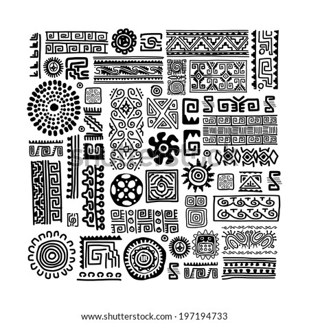 Ethnic handmade ornament for your design - stock vector