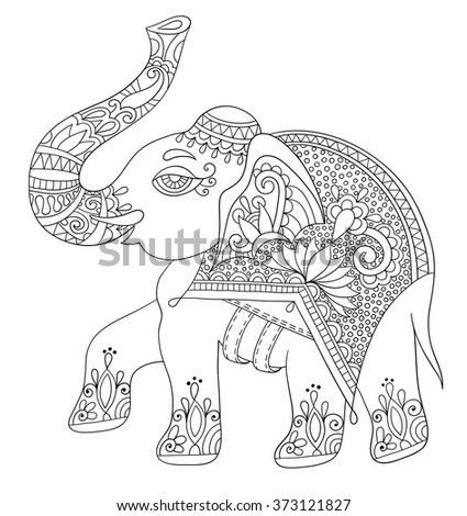 ethnic indian elephant line original drawing, adults coloring book vertical page, black and white vector illustration - stock vector