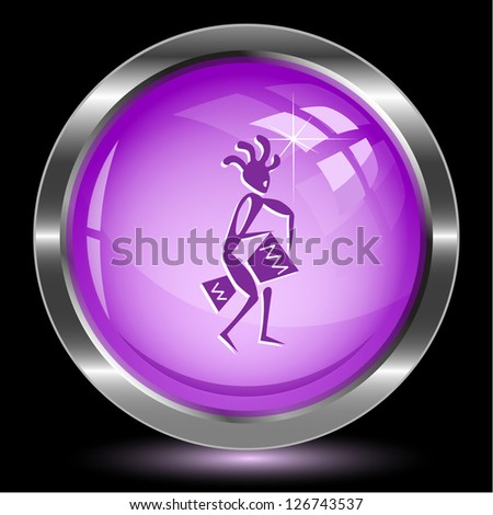 Ethnic little man with drum. Internet button. Vector illustration. - stock vector