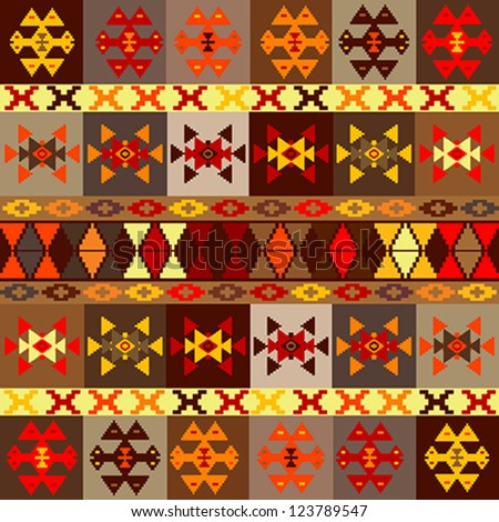 Ethnic motifs background, carpet with folk ornaments - stock vector