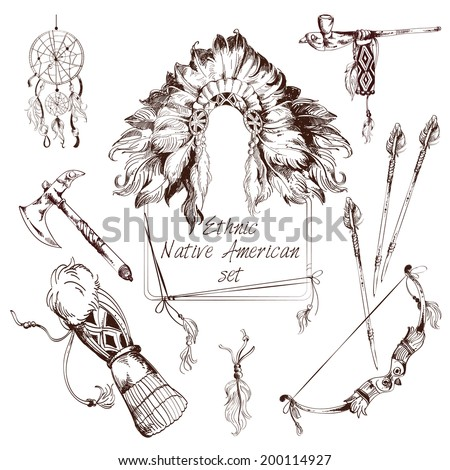Ethnic native american indian tribes sketch decorative elements set isolated vector illustration - stock vector