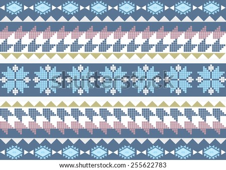 Ethnic pattern background in blue, blue-black and white colors, vector illustration  - stock vector
