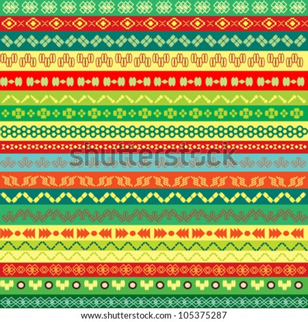 ethnic pattern background with colored motifs - stock vector