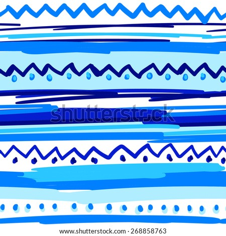 Ethnic pattern of stripes, naive ornament, colored stripes and dots - stock vector