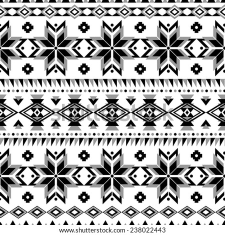 Ethnic seamless pattern. Aztec black-white geometric background. Tribal, ethnic, navajo print. Modern abstract wallpaper. Vector illustration. - stock vector