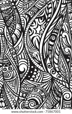 Ethnic seamless pattern. Hand drawn - stock vector