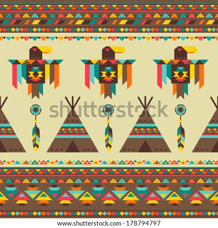 Ethnic seamless pattern in native style. - stock vector