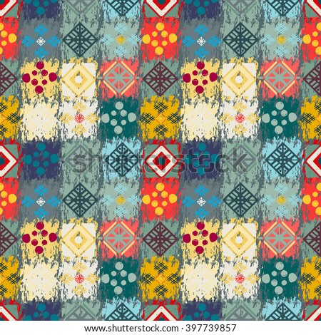 Ethnic seamless pattern. Tribal art boho print, abstract ornament. Background texture, tile, patchwork - stock vector