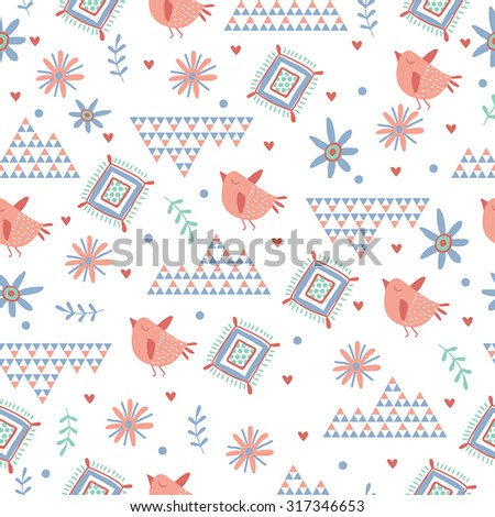 Ethnic seamless pattern with cute birds and floral. - stock vector