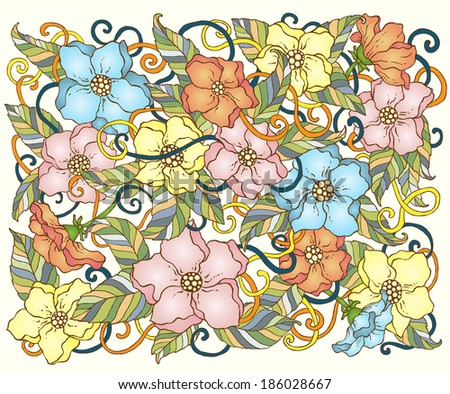 Ethnic seamless pattern with mandala, cucumbers and paisley. Round Ornament Pattern. Ornamental Flowers. - stock vector