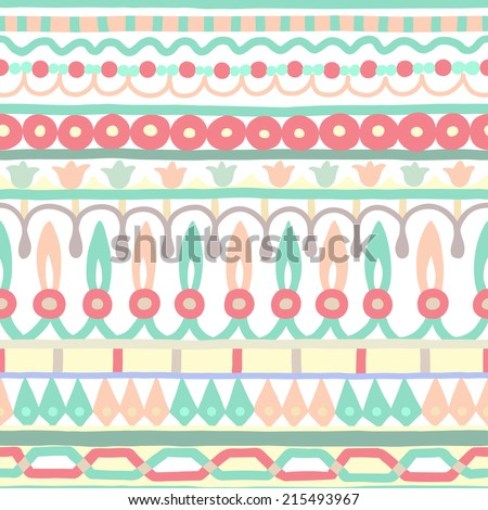Ethnic seamless stripe pattern. Vector illustration for your cute design. Borders and frames. - stock vector