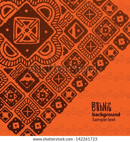 Ethnic square pattern background 04, vector - stock vector