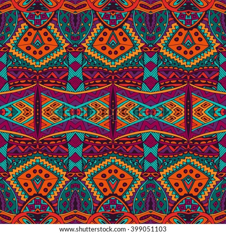 ethnic striped fashion pattern for fabric. Abstract geometric mosaic vintage seamless pattern ornamental.  - stock vector