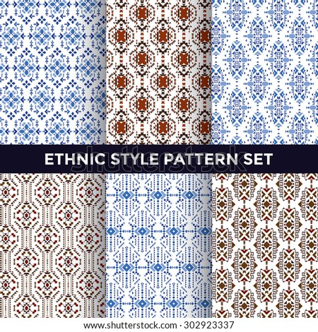 Ethnic Style Pattern Set - Collection of Six Beautiful Pattern Designs on White Background - stock vector