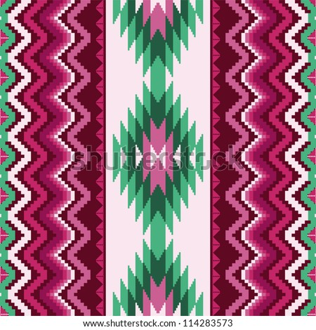 Ethnic textile seamless pattern with traditional ornamental motifs - stock vector