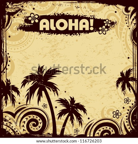 Ethnic tribal flyer with palm trees - stock vector