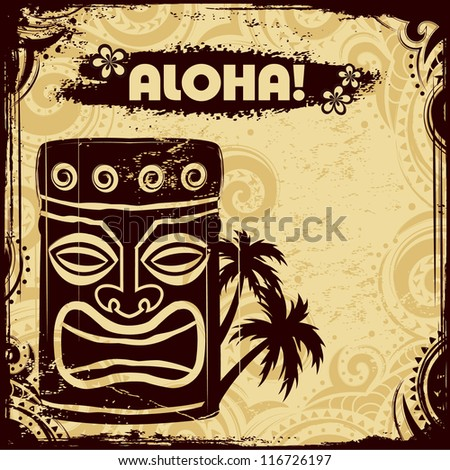 Ethnic tribal flyer with tiki - stock vector