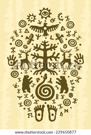 ethnic tribal native prehistoric shaman tree symbol - stock vector