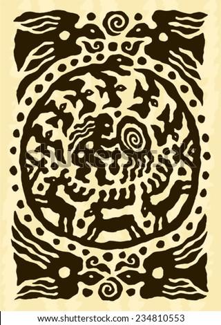 ethnic tribal native prehistoric witch shaman dance drum bird deer symbol   - stock vector