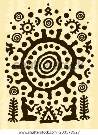 ethnic tribal native prehistoric witch shaman solar symbol - stock vector
