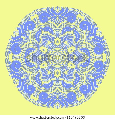 Ethnicity round ornament in blue, mosaic vector illustration - stock vector