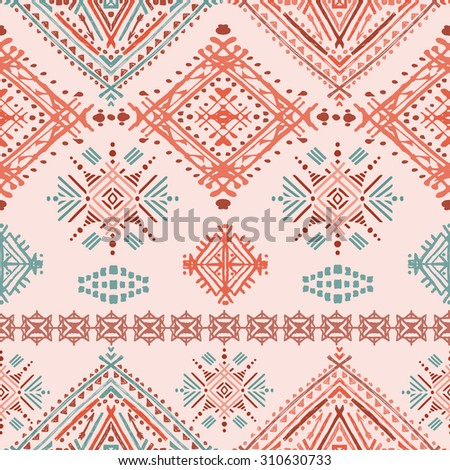 Ethno seamless ornament. Ethnic boho repeatable pattern. Tribal art background. Fabric design, wallpaper, wrapping - stock vector