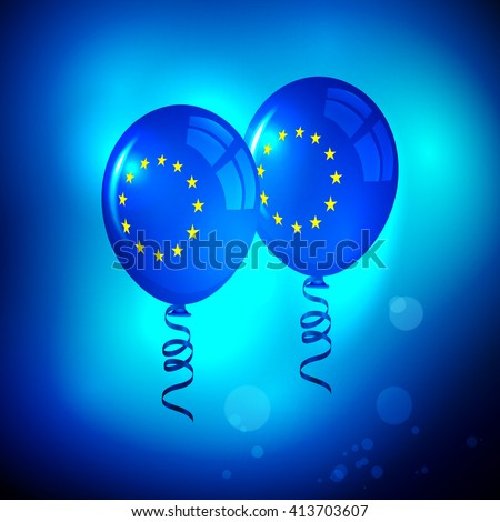 EU. EU Flag. European Union Flag. EU Flag. EU. Flag of EU. Flag of Europe. European Union. European Union Balloons. European Union Balloons with Flag Texture. Blue EU Balloons. European parliament. - stock vector