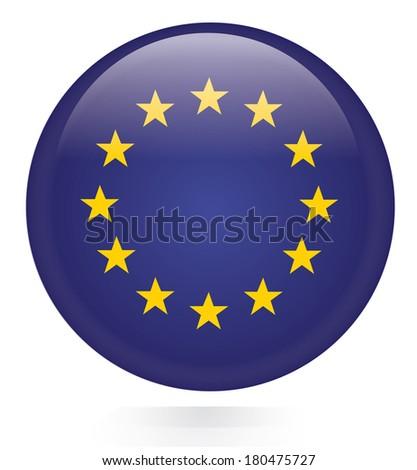 EU Flag button  - stock vector