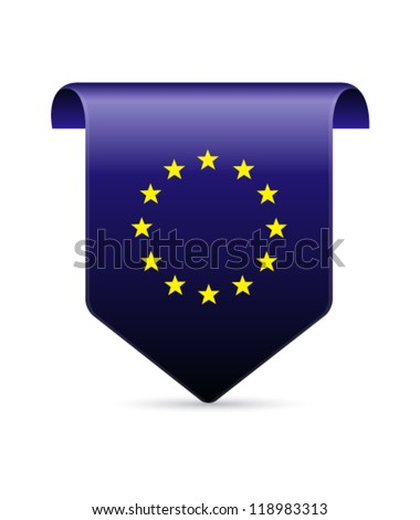 EU flag tag vector illustration - stock vector